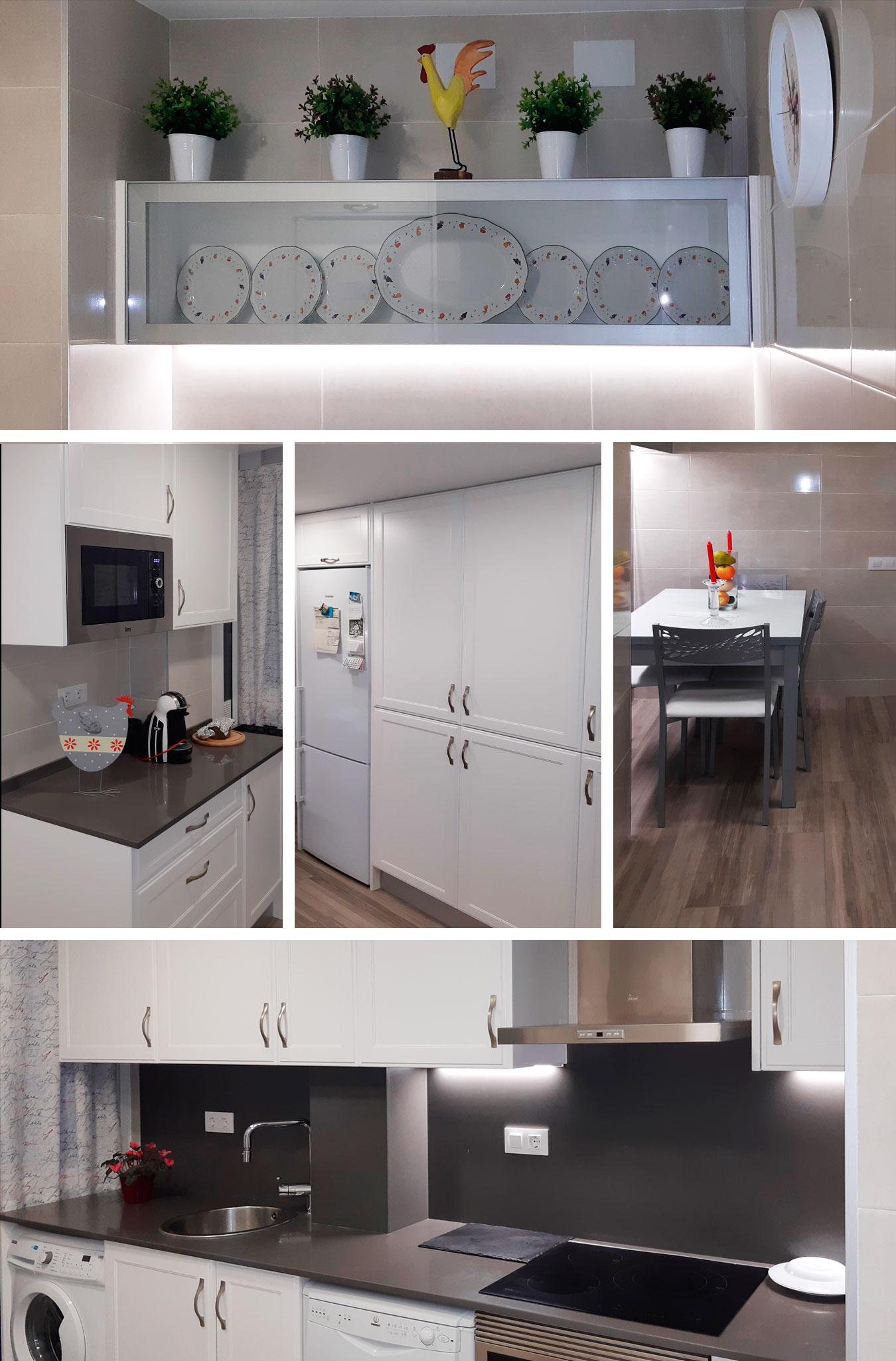 REFORMAS JOSÉ BANDA - Reforma de Cocina de estilo provenzal con puertas lacadas en blanco (Esplugues. Barcelona)